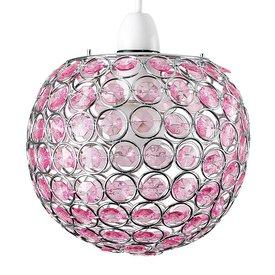 Kinderlamp rond met roze kralen klein