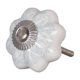 Clayre & Eef Deurknopje bloem wit met aqua blauw patroon
