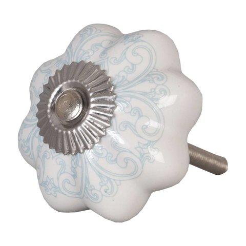 Deurknopje bloem wit met aqua blauw patroon