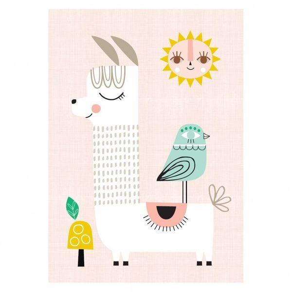 Petit Monkey Petit Monkey kinderposter A3 Sunshine Lama roze