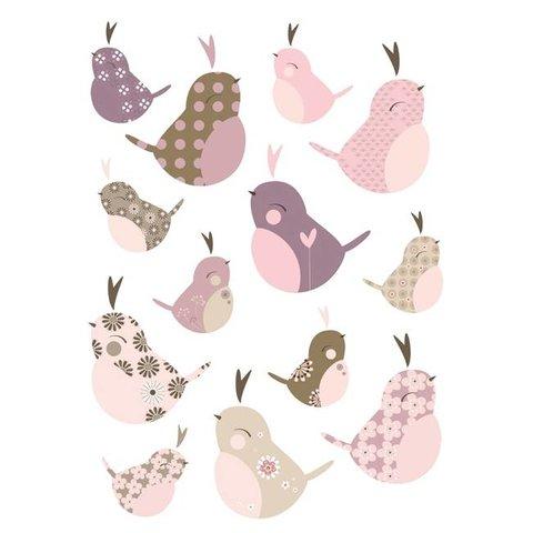 Lilipinso muursticker vogeltjes roze