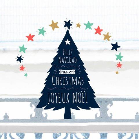 Nouvelles Images raamsticker kerstboom Merry Christmas