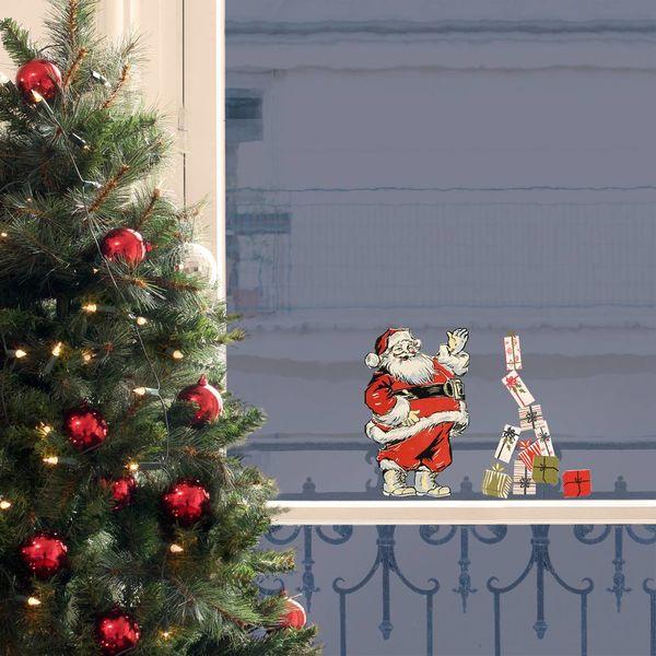 Nouvelles Images Nouvelles Images kerst raamstickers kerstman vintage