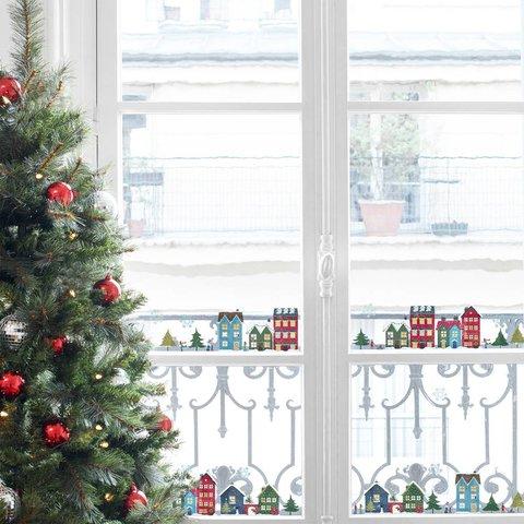Nouvelles Images kerst raamstickers winterse huisjes