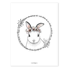 Lilipinso Lilipinso poster konijn met bloemenkrans
