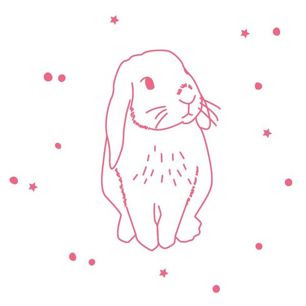 Mimi'lou Mimilou muursticker konijn roze