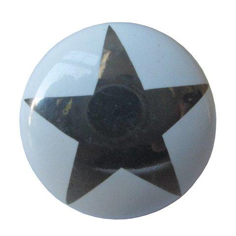 La Finesse kastknopje wit met zilveren ster