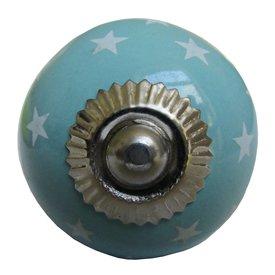 La Finesse La Finesse kastknopje turquoise met witte sterren