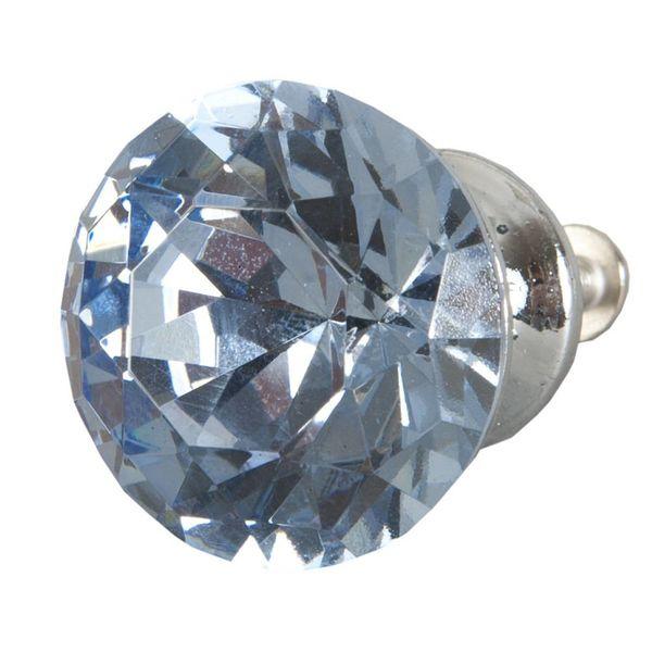 Clayre & Eef Deurknopje glas diamant blauw