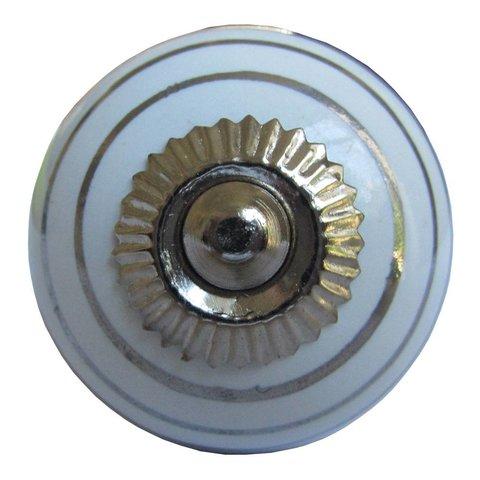 La Finesse kastknopje wit met zilveren strepen