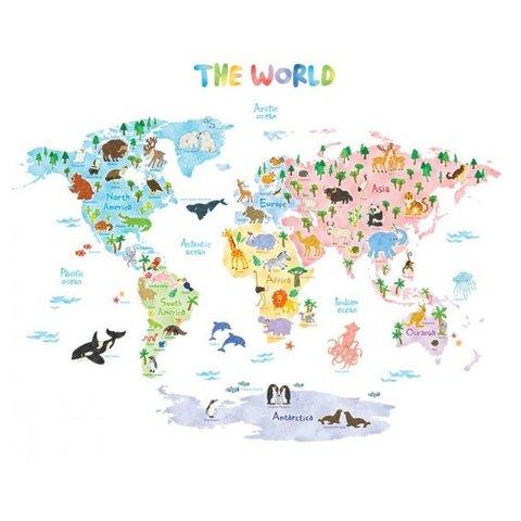 Decowall muursticker wereldkaart met dieren