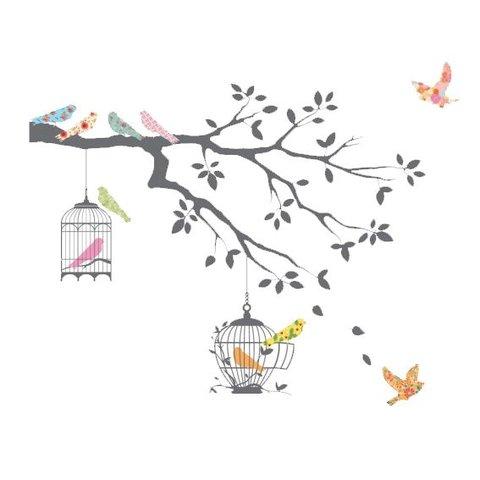 Decowall muursticker tak grijs met vogels en vogelkooi