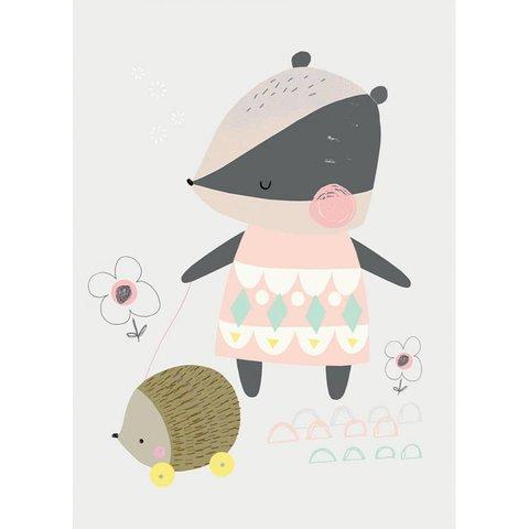 Petite Louise poster A4 das met egel trekspeeltje