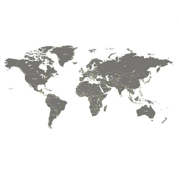Decowall Decowall muursticker wereldkaart world map grijs