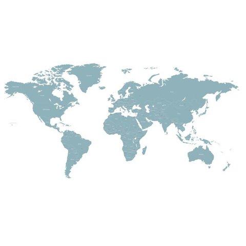 Decowall muursticker wereldkaart blauw