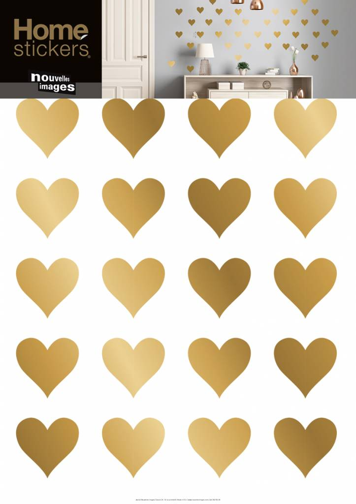 nouvelles images muurstickers hartjes goud kidzsupplies. Black Bedroom Furniture Sets. Home Design Ideas