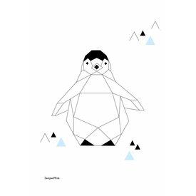 Designed4Kids Designed4Kids poster A3 pinguïn  origami