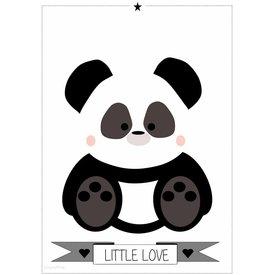 Designed4Kids Designed4Kids poster A3 panda  zwart wit