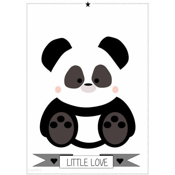 Designed4Kids Designed4Kids kinderposter A3 panda Little Love