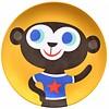 Petit Monkey melamine kinderbord aap geel