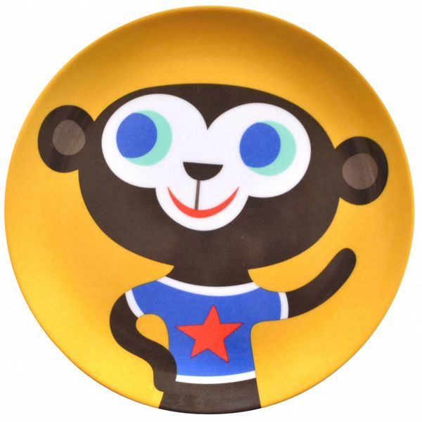 Petit Monkey Petit Monkey melamine kinderbord aap geel