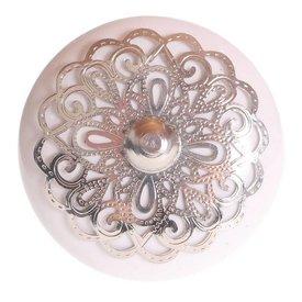 La Finesse La Finesse kastknopje wit met zilveren rozet