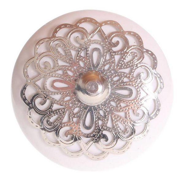 La Finesse La Finesse kastknop porselein wit met zilveren rozet
