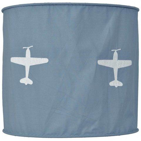 Taftan kinderlamp vliegtuig grijs blauw