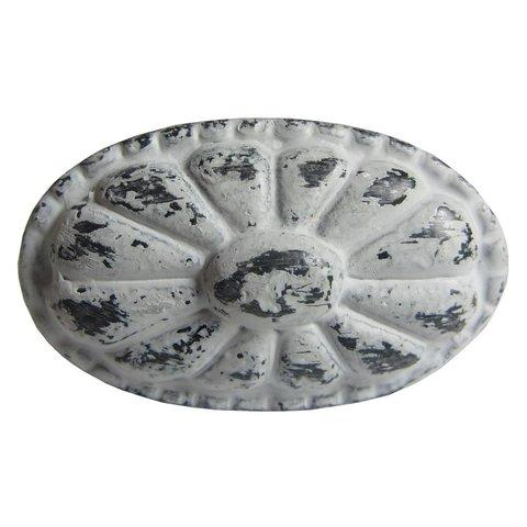 Deurknop metaal ovaal antiek grijs