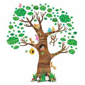 Decowall Decowall muursticker grote boom met dieren
