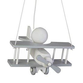 Waldi-Leuchten Kinderlamp vliegtuig grijs/wit