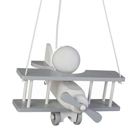 Kinderlamp vliegtuig grijs/wit