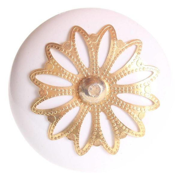 La Finesse La Finesse kastknop porselein wit met gouden rozet bloem