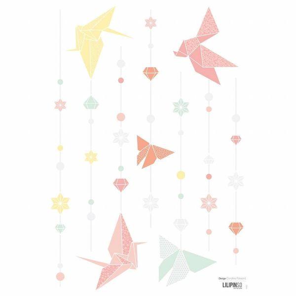 Lilipinso Lilipinso muursticker kinderkamer origami vlinders pastel
