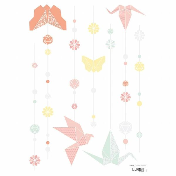 Lilipinso Lilipinso muursticker kinderkamer origami pastel