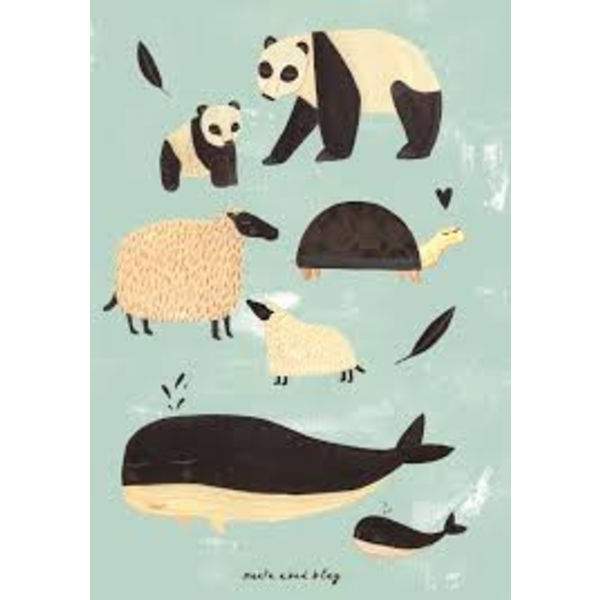 Petit Monkey Petit Monkey kinderposter dieren Black & White Animals mint