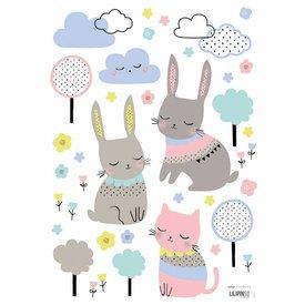 Lilipinso Lilipinso muursticker konijntjes en poes