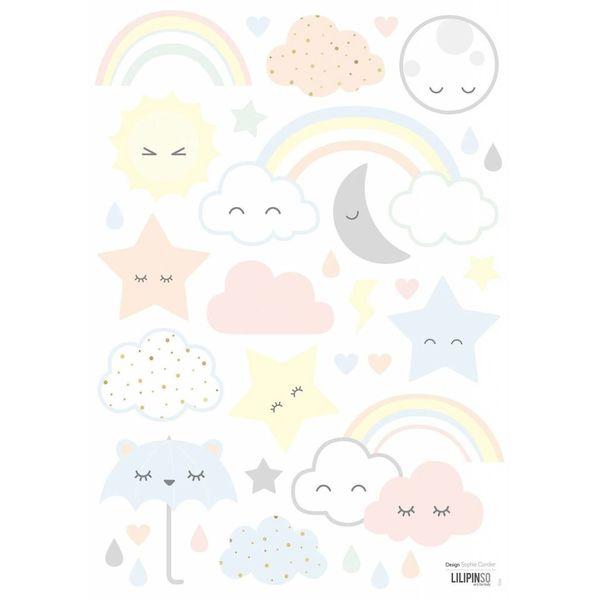 Lilipinso Lilipinso muursticker kinderkamer wolkjes regenboog en sterren