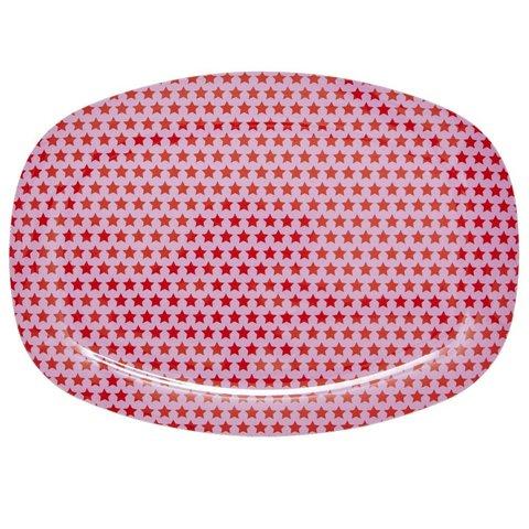 Rice melamine bord sterren roze met rode sterren
