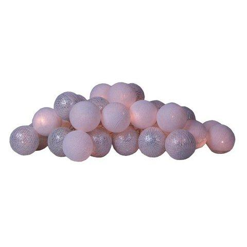 Cotton ball lights lichtslinger zilver & wit