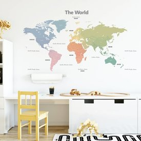 Decowall Decowall muursticker wereldkaart Modern Colour Worldmap