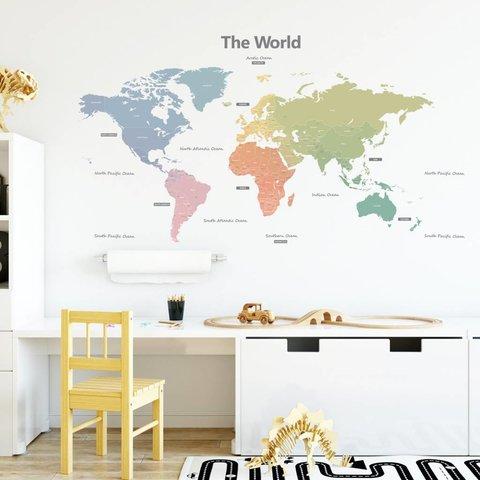 Decowall muursticker wereldkaart Modern Colour Worldmap