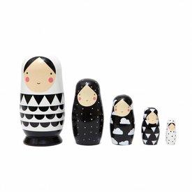 Petit Monkey Petit Monkey nesting dolls zwart wit