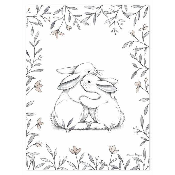 Lilipinso Lilipinso kinderposter knuffelende konijntjes