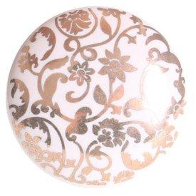 La Finesse La Finesse kastknopje wit met gouden bloemen patroon