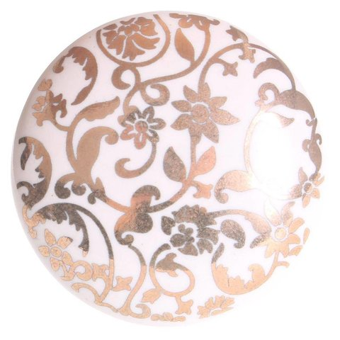 La Finesse kastknopje wit met gouden bloemen patroon