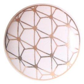 La Finesse La Finesse kastknopje wit met gouden patroon Geometric