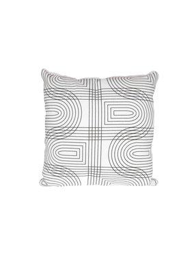 pt, Sierkussen / sierkussens Retro Grid vierkant wit