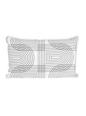 pt, Sierkussen / sierkussens Retro Grid  rechthoek wit