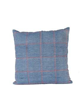 pt, Sierkussen / sierkussens Padded Grid jeans blauw w. neon orange